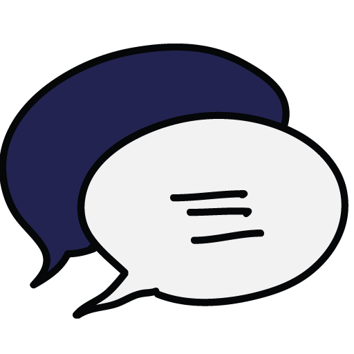 Hand-drawn doodle of a chat bubble
