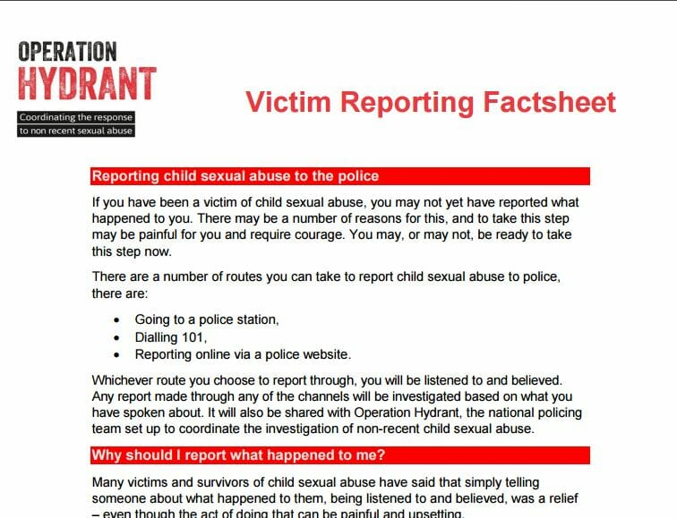 Operation Hydrant – Victim Reporting Factsheet